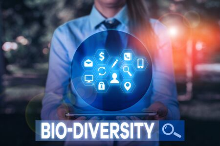 Writing note showing Bio Diversity. Business concept for Variety of Life Organisms Marine Fauna Ecosystem Habitat