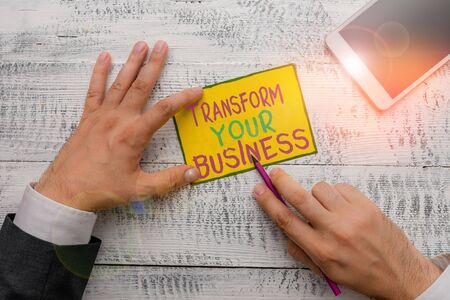 Writing note showing Transform Your Business. Business concept for Modify energy on innovation and sustainable growth
