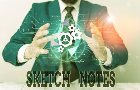 Handwriting text Sketch Notes. Conceptual photo visual notetaking Combination of notetaking and doodling Male human wear formal work suit presenting presentation using smart device Stok Fotoğraf
