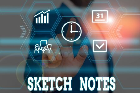 Writing note showing Sketch Notes. Business concept for visual notetaking Combination of notetaking and doodling Male wear formal work suit presenting presentation smart device