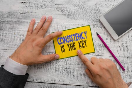 Word writing text Consistency Is The Key. Business photo showcasing full Dedication to a Task a habit forming process