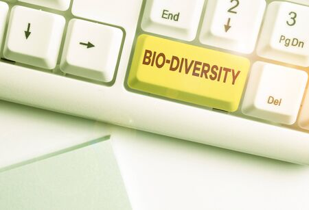 Writing note showing Bio Diversity. Business concept for Variety of Life Organisms Marine Fauna Ecosystem Habitat White pc keyboard with note paper above the white background