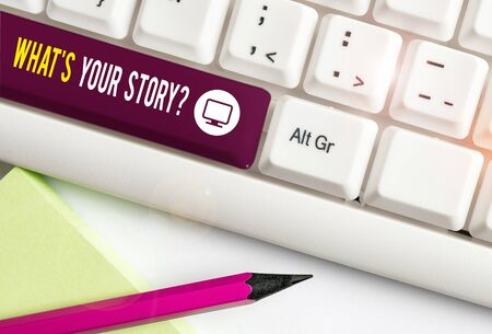 Writing note showing What S Your Story Question. Business concept for Relate Something About Yourself Any Updates White pc keyboard with note paper above the white background