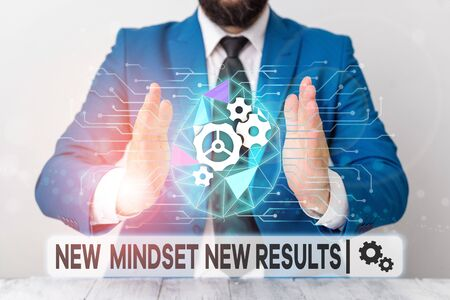 Text sign showing New Mindset New Results. Business photo showcasing Open to Opportunities No Limits Think Bigger Male human wear formal work suit presenting presentation using smart device Stock Photo