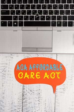 Word writing text Aca Affordable Care Act. Business photo showcasing providing cheap treatment to patient several places Close view open laptop blank speech bubble downwards lying vintage table Foto de archivo - 131343070