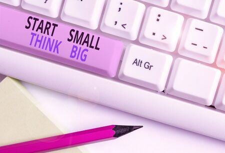 Text sign showing Start Small Think Big. Business photo showcasing Initiate with few things have something great in mind White pc keyboard with empty note paper above white background key copy space