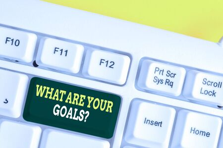 Word writing text What Are Your Goals Question. Business photo showcasing ask the Desired End Results to know the plans White pc keyboard with empty note paper above white background key copy space