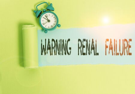 Conceptual hand writing showing Warning Renal Failure. Concept meaning stop Filtering Excess Waste Acute Kidney malfunction Stockfoto