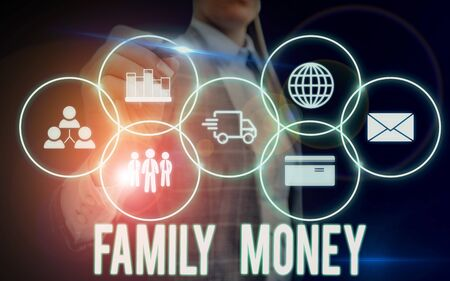 Writing note showing Family Money. Business concept for the inherited wealth of established upperclass families Woman wear formal work suit presenting presentation using smart device
