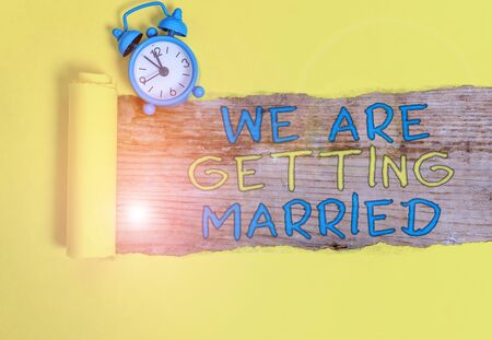 Writing note showing We Are Getting Married. Business concept for Engagement Wedding preparation Loving couple 写真素材
