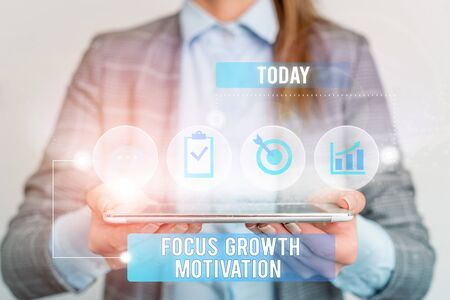 Writing note showing Focus Growth Motivation. Business concept for doing something with accuracy increase productivity Female human wear formal work suit presenting smart device