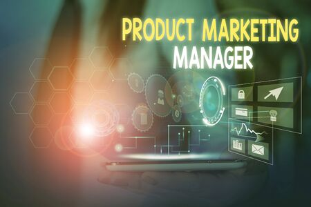 Word writing text Product Marketing Manager. Business photo showcasing who responsible for putting plan to sell product Woman wear formal work suit presenting presentation using smart device