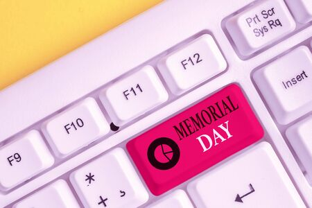 Text sign showing Memorial Day. Business photo showcasing remembering the military demonstratingnel who died in service White pc keyboard with empty note paper above white background key copy space Imagens