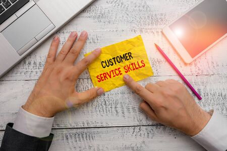 Word writing text Customer Service Skills. Business photo showcasing Aptitude to master to improve dealings with client