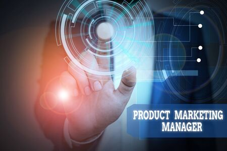Text sign showing Product Marketing Manager. Business photo text who responsible for putting plan to sell product Male human wear formal work suit presenting presentation using smart device
