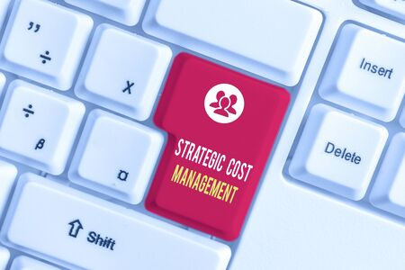 Text sign showing Strategic Cost Management. Business photo text Reduce total Expenses while improving operation White pc keyboard with empty note paper above white background key copy space
