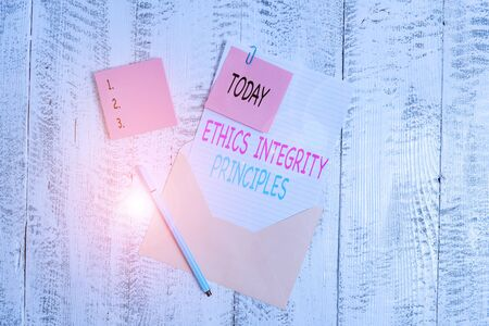 Conceptual hand writing showing Ethics Integrity Principles. Stock fotó