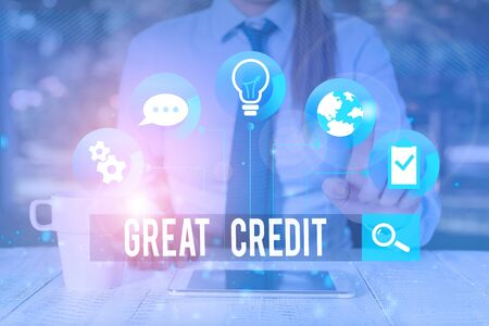 Handwriting text writing Great Credit. Conceptual photo borrower has high credit score and is a safe credit risk Female human wear formal work suit presenting presentation use smart device