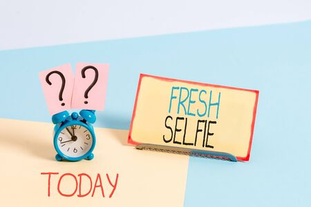 Text sign showing Fresh Selfie. Business photo showcasing take a picture of yourself with no makeup filter or edit