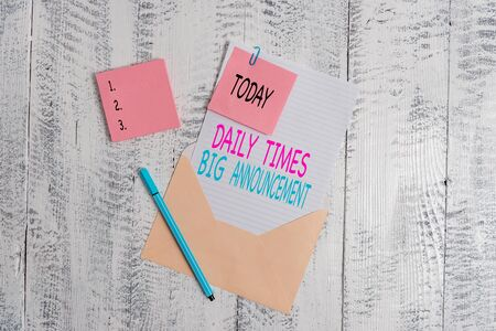 Conceptual hand writing showing Daily Times Big Announcement. Concept meaning bringing actions fast using website or tv Envelope blank sheet sticky note ballpoint wooden background Stock fotó