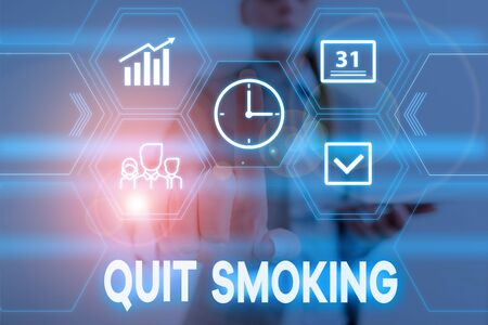 Conceptual hand writing showing Quit Smoking. Concept meaning process of discontinuing tobacco smoking or cessation Woman wear work suit presenting presentation smart device