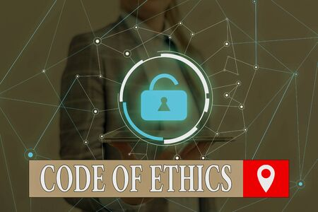 Word writing text Code Of Ethics. Business photo showcasing basic guide for professional conduct and imposes duties Woman wear formal work suit presenting presentation using smart device Banco de Imagens