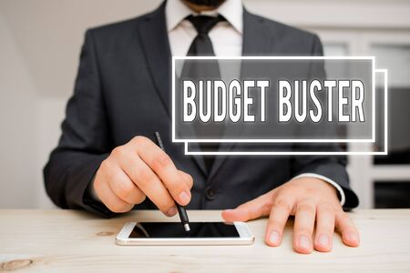 Handwriting text writing Budget Buster. Conceptual photo Carefree Spending Bargains Unnecessary Purchases Overspending