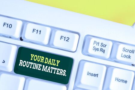 Word writing text Your Daily Routine Matters. Business photo showcasing Have good habits to live a healthy life White pc keyboard with empty note paper above white background key copy space