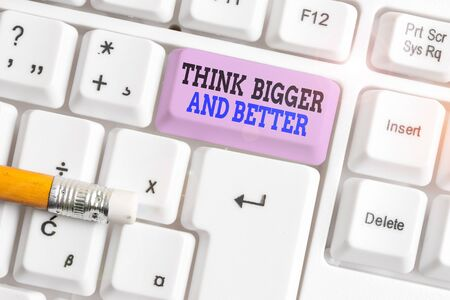Word writing text Think Bigger And Better. Business photo showcasing no Limits be Open minded Positivity Big Picture White pc keyboard with empty note paper above white background key copy space