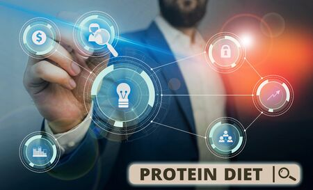 Word writing text Protein Diet. Business photo showcasing low in fat or carbohydrate consumption weight loss plan Male human wear formal work suit presenting presentation using smart device Stock Photo