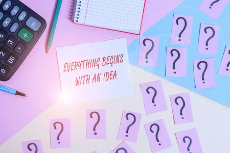 Word writing text Everything Begins With An Idea. Business photo showcasing steps you take to turn an idea into a reality Mathematics stuff and writing equipment above pastel colours background Stockfoto