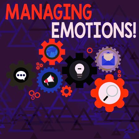 Conceptual hand writing showing Managing Emotions. Concept meaning ability be open to feelings and modulate them in oneself Set of Global Online Social Networking Icons Cog Wheel Gear