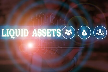 Word writing text Liquid Assets. Business photo showcasing Cash and Bank Balances Market Liquidity Deferred Stock Woman wear formal work suit presenting presentation using smart device