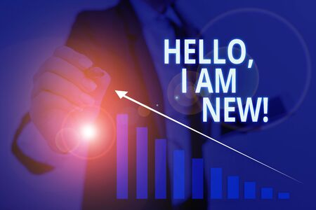 Text sign showing Hello I Am New. Business photo text introducing oneself in a group as fresh worker or student Woman wear formal work suit presenting presentation using smart device