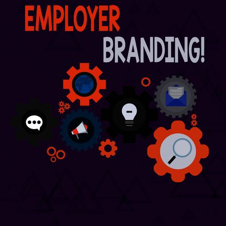 Conceptual hand writing showing Employer Branding. Concept meaning promoting company employer choice to desired target group Set of Global Online Social Networking Icons Cog Wheel Gear