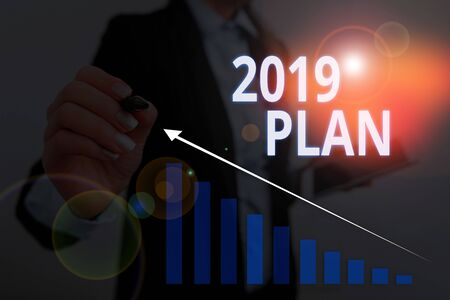 Text sign showing 2019 Plan. Business photo text setting up your goals and plans for the current year or in 2019 Woman wear formal work suit presenting presentation using smart device