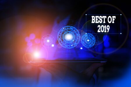 Text sign showing Best Of 2019. Business photo text great and marvelous things and events happened on 2019 Woman wear formal work suit presenting presentation using smart device
