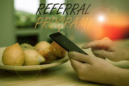 Handwriting text writing Referral Program. Conceptual photo internal recruitment method employed by organizations