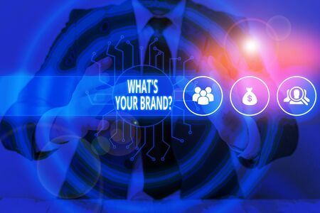 Text sign showing What S Your Brand Question. Business photo text asking about product logo does or what you communicate Male human wear formal work suit presenting presentation using smart device