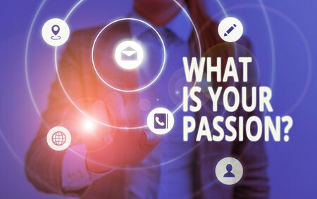 Word writing text What Is Your Passion Question. Business photo showcasing asking about his strong and barely controllable emotion Zdjęcie Seryjne