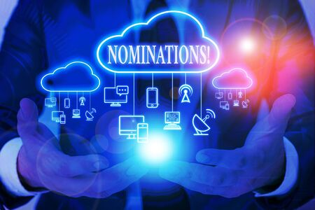 Word writing text Nominations. Business photo showcasing action of nominating or state being nominated for prize Male human wear formal work suit presenting presentation using smart device