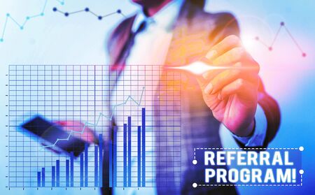 Conceptual hand writing showing Referral Program. Concept meaning internal recruitment method employed by organizations Stock Photo