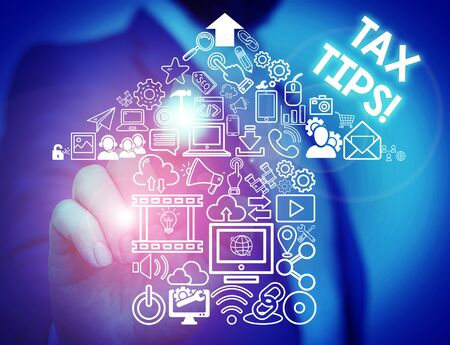 Handwriting text Tax Tips. Conceptual photo compulsory contribution to state revenue levied by government Male human wear formal work suit presenting presentation using smart device