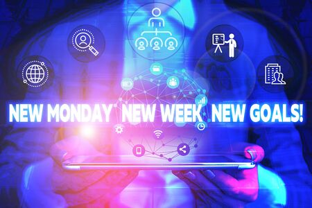 Word writing text New Monday New Week New Goals. Business photo showcasing goodbye weekend starting fresh goals targets Male human wear formal work suit presenting presentation using smart device