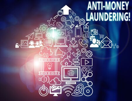 Conceptual hand writing showing Anti Money Laundering. Concept meaning regulations stop generating income through illegal actions Woman wear work suit presenting presentation smart device