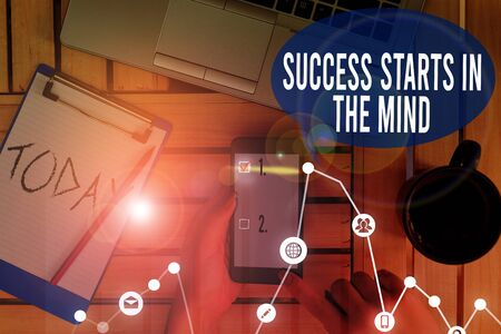 Text sign showing Success Starts In The Mind. Business photo text set your mind to positivity it can go a long way