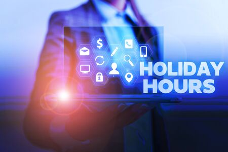 Handwriting text writing Holiday Hours. Conceptual photo Schedule 24 or7 Half Day Today Last Minute Late Closing