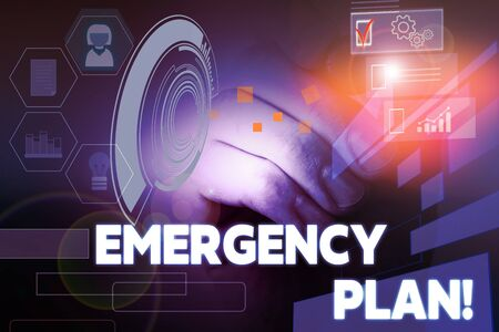 Text sign showing Emergency Plan. Business photo showcasing actions developed to mitigate damage of potential events Male human wear formal work suit presenting presentation using smart device Stok Fotoğraf