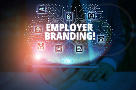 Writing note showing Employer Branding. Business concept for promoting company employer choice to desired target group Male wear formal work suit presenting presentation smart device