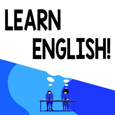 Conceptual hand writing showing Learn English. Concept meaning gain acquire knowledge in new language by study Man with purple trousers sit on chair fellow near computer table